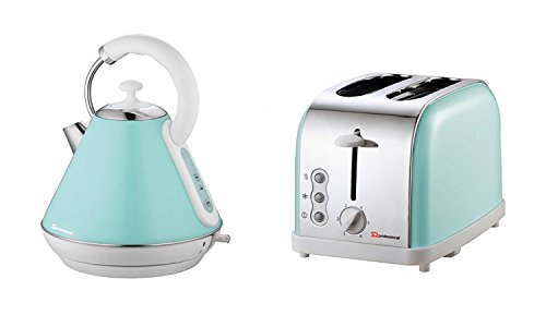 Matching Kitchen Set of Two items: Electric Kettle and Toaster in Light Blue, Pink or Mint Green (Mint green)