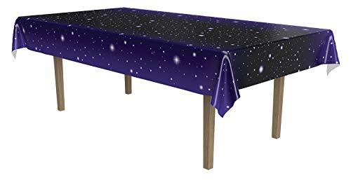 Beistle Mantel Rectangular desechable de plástico Estrellado cósmico Galaxy Space Tema de cumpleaños Premios Noche Fiesta Suministros, 54 x 108 Pulgadas, Negro, Blanco, Azul
