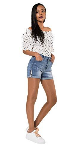 Crazy Age Damen Jeansshorts Basic in Aged-Waschung 5 Pocket Denim Classic Jeans Bermuda-Shorts Kurze Hosen aus Denim für den Damen Denim Kurze Hose mit Hotpants Shorts (36~S, Q 1840)