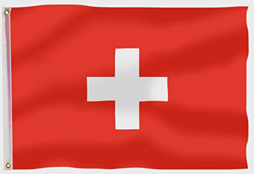 aricona Schweiz Flagge - Schweizer Nationalflagge 90x150 cm mit Messing-Ösen - Wetterfeste Fahne für Fahnenmast - 100% Polyester