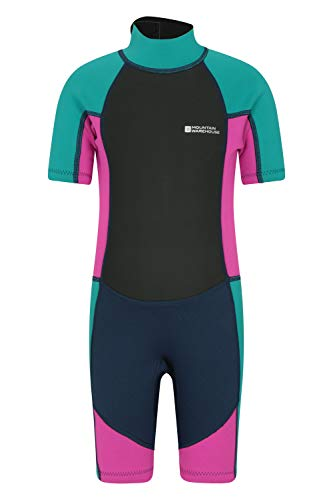 Mountain Warehouse Junior Kids Shorty Wetsuit - 2.5mm Thickness, Neoprene Kids Wetsuit, Flat Seams Childrens Wetsuit, Adjustable Neck Swimming Suit Grape 3-4 Years