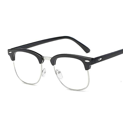 NJJX Gafas De Ordenador Con Montura Cuadrada Para Miopía, Gafas Ópticas Para Mujer, Gafas Simples De Metal Anti Luz Azul, Lentes Transparentes, Negro Arena