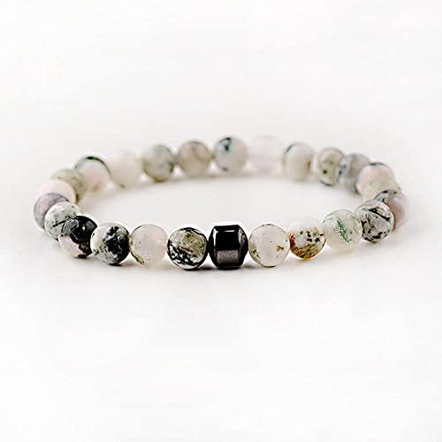 Moda Cilindro Pulseras Hematita para Hombres Classic Nature Stone Beads Pulseras Y Brazaletes Homme Yoga Joyería-Pag