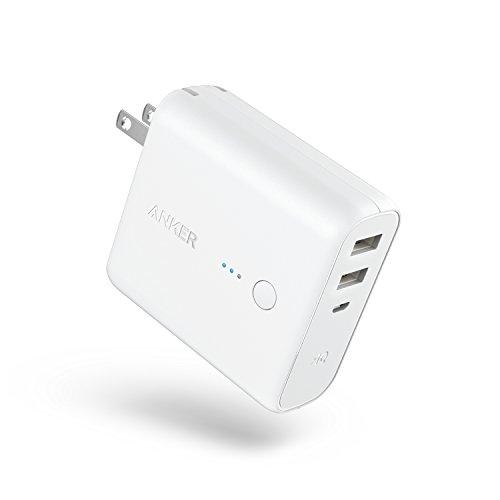 Anker PowerCore Fusion 5000 (モバイルバッテリー 搭載 USB充電器 5000mAh) 【PSE技術基準適合/コンセント 一体型/PowerIQ搭載/折りたたみ式プラグ】 iPhone iPad Android各種対応 (ホワイト)