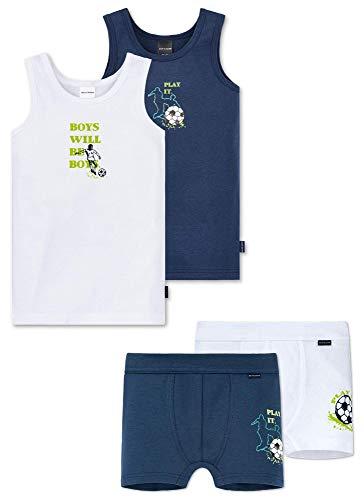 Schiesser Jungen Unterwäsche Set - 4 teilig (Unterhemd und Shorts) (Fußball2, 140)