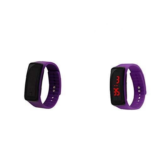 lulongyansf Niños Reloj Pantalla Táctil Digital De Led Reloj del Deporte del Reloj con Cuero Brazalete del Reloj De La Pulsera Regalos para Childrenpurple