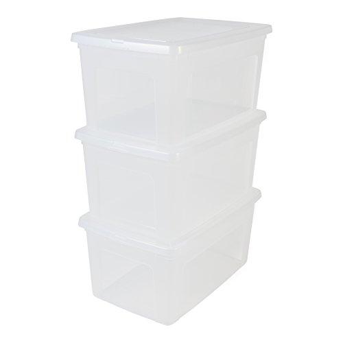 IRIS, 3er-Set Aufbewahrungsboxen / Kisten mit Deckel / Stapelboxen \'Modular Clear Box\', MCB-50, Kunststoff, transparent, 50 L, 59,5 x 39,5 x 29 cm