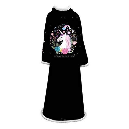 Männer Frauen Lange Fleece Maxi-Wearable-Decke mit Ärmeln, 3D Unicorn Printed weiche warme Premium-Sweatshirt, Erwachsene Jugendliche,Schwarz,Freesize