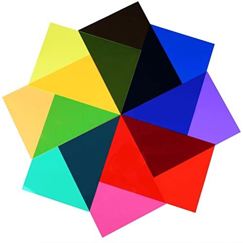 Filtro de gel de 9 colores para corrección de color, filtro de gel iluminado para grabar películas y vídeos, 28 x 21 cm