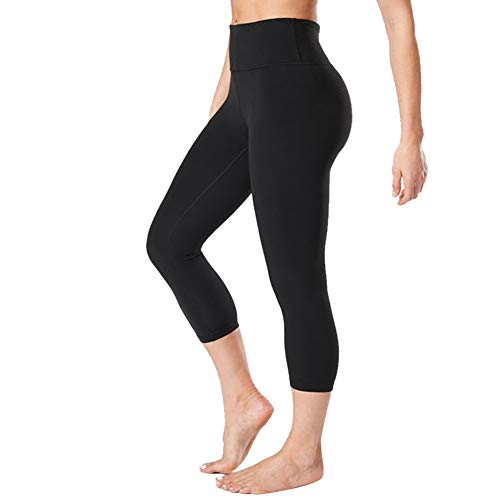 Gayhay High Waisted Capri Leggings for Women - Soft Slim Tummy Control - Exercise Pants for Running Cycling Yoga Workout - Reg & Plus Size (Black, Small/Medium)