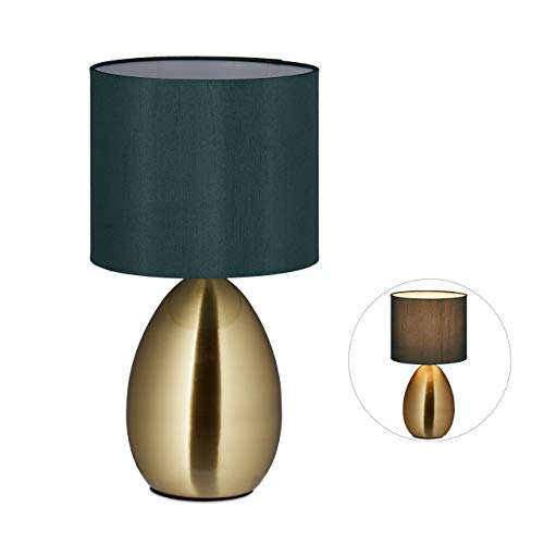 Relaxdays Nachttischlampe Touch dimmbar, moderne Touch Lampe, 3 Stufen, E14, Tischlampe mit Kabel, 33,5 x 18 cm, messing, M, 10032222