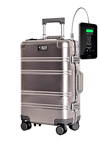 TOKYOTO - Maleta de Cabina 100% Aluminio Puro Metálica Juvenil Ultraligera Equipaje de Mano, 55x40x20 cm | Trolley de Viaje Ryanair, Easyjet | Maleta Rígida Silver Logo
