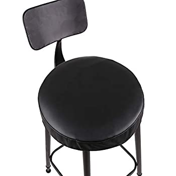 JISEN Waterproof PU Leather Round Bar Stool Cover Padding Cushion Elastic Protectors with Fixing Strap 18 Inch Black