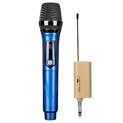 cambiador de voz Micrófono dinámico profesional cargable UHF Megáfono de micrófono de mano inalámbrico con USB 6.3 Receptor de 5 mm de 3,5 mm para el altavoz del discurso de karaoke altavoz con micróf