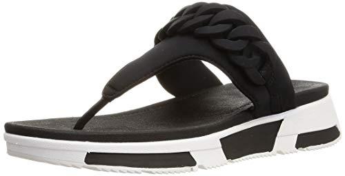 FitFlop Heda Chain Toe-Thongs, Sandalias de Punta Descubierta para Mujer, Negro (Black 001), 36 EU