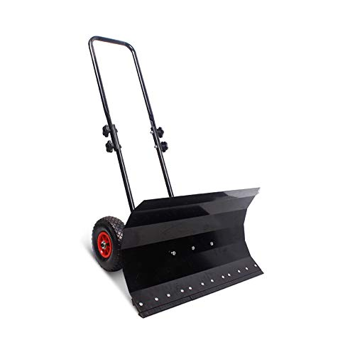 ZJDU Rolling Snow Pusher Heavy Duty Snow Shovel6quot Wheels and Adjustable Aluminum Handle 76 X46cm Wide Efficient Big Snow Removal Tool for Driveway Garden Pavement Cleaning