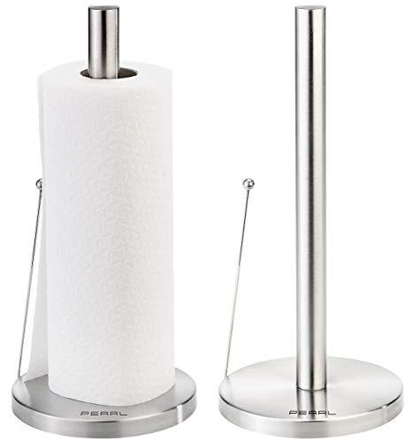 PEARL Küchenrollenständer: 2er-Set Küchenrollen-Halter aus Edelstahl mit praktischem Abroll-Stopp (Edelstahl-Küchenrollenhalter)