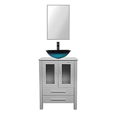 "eclife 24"" Bathroom Vanity and Sink Combo Grey Vanity Turquoise Square Tempered Glass Vessel Sink & 1.5 GPM Water Save Faucet & Solid Brass Pop Up Drain, W/Mirror (A10B02GY)"