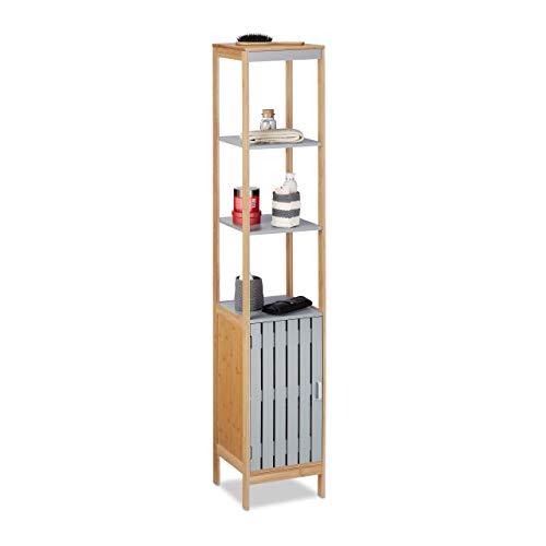 Relaxdays Badschrank hoch, höhenverstellbare Schrank Einlage, 4 Regalfächer, Bambus, MDF, HBT 159x30x30 cm, Natur-grau