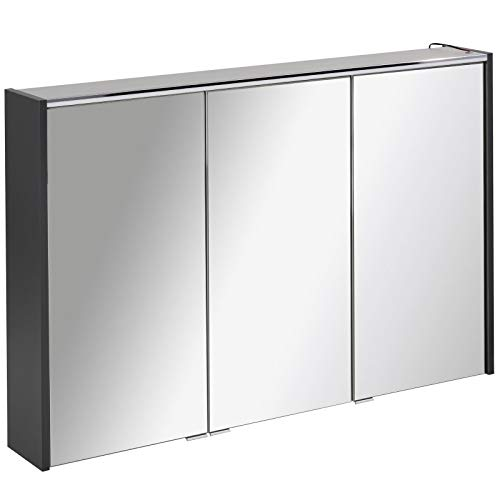 FACKELMANN dreitüriger breiter Spiegelschrank Bad LED Beleuchtung 110 cm anthrazit Denver
