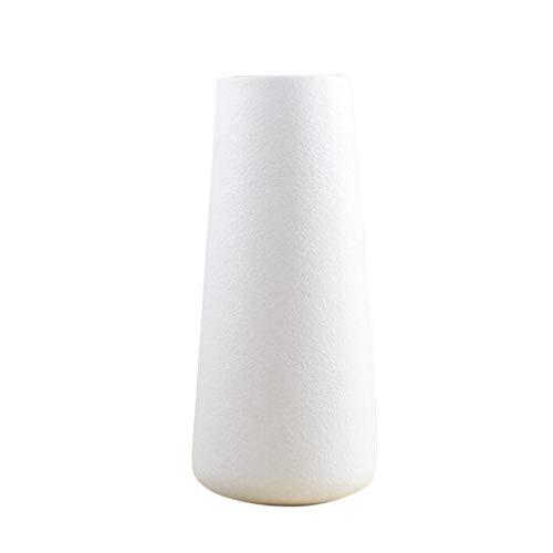VOSAREA Jarrón de cerámica minimalista para decoración del hogar o la oficina, color blanco
