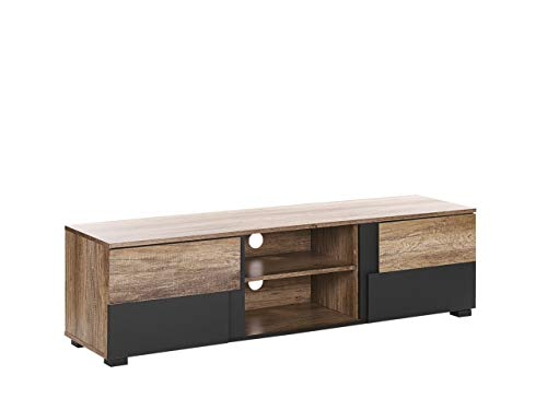 Beliani - Mueble de TV de plata con efecto madera clara y negro