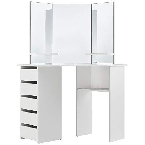 ArtLife Schminktisch Nova weiß modern | Frisiertisch mit Spiegel, Schubladen & Ablagefächern | Kosmetiktisch für Damen, Teenager & Mädchen