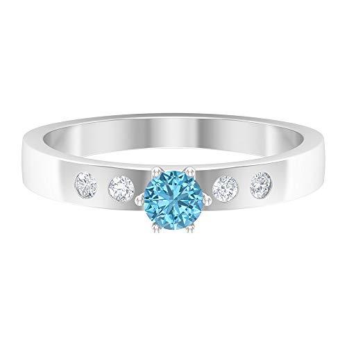 Rosec Jewels 14 quilates oro blanco redonda round-brilliant-shape H-I Blue Diamond Aquamarine