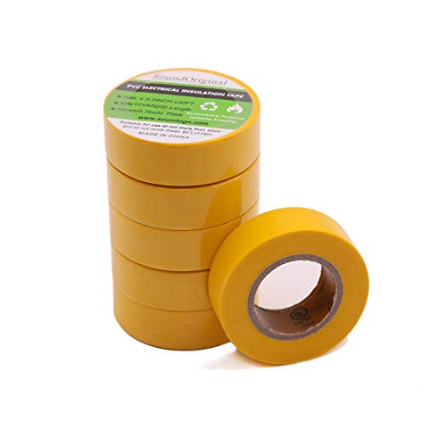 Soundoriginal Electrical Tape Yellow 6 Pack 3/4-Inch by 30 Feet, Voltage Level 600V Dustproof, Adhesive for General Home Vehicle Auto Car Power Circuit Wiring Yellow (30Ft Yellow)