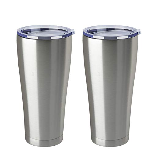MEWAY 32oz Coffee Tumblers Bulk 2 Pack Vacuum Insulated Cups ,Double Wall Stainless Steel Tumbler with Lid ,Powder Coated Coffee Mugs for Ice Drink and Hot Beverage (Silver ,Set of 2)