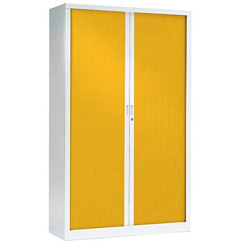 Armoire Monobloc à rideaux   Blanc   Jaune   HxLxP 1980 x 1200 x 430   Certeo