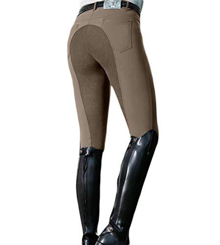 Minetom Equitación Mujer Suave Elástico Jodhpurs Pantalones para Equitación con Bolsillos Pantalones De Equitación para Mujer Z Marrón S