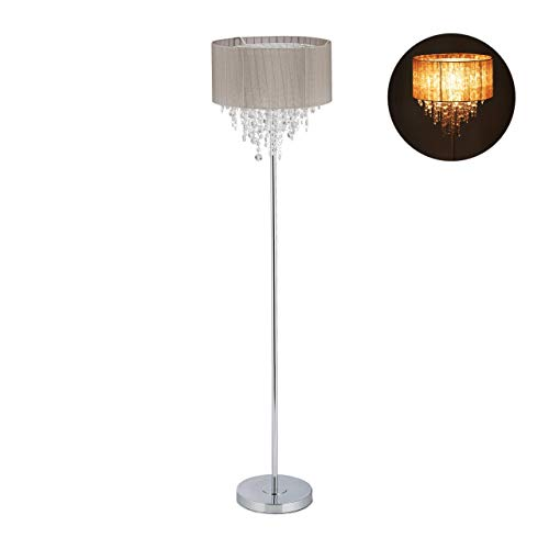 Relaxdays Stehlampe Kristall, Lampenschirm aus Organza, runder Standfuß, E27, Stehleuchte, HxD: 151,5x38 cm, grau/silber