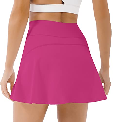 PERSIT Womens Tennis Golf Skirts Athletic Pleated High Waisted Skorts with Pockets for Workout Sports Running - Dark Pink - M