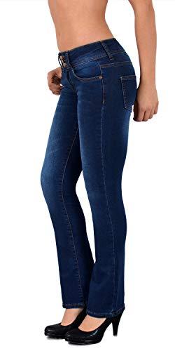 ESRA Damen Jeans Bootcut Jeanshose Schlaghose Damen Hüftjeans Hüfthose bis Übergröße B600