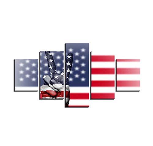Posters 5 Panels Leinwand Gemälde Wandkunst Leinwand HD gedruckte Bilder 5 Stück Flagge & Sieg Hand Geste Malerei für Wohnzimmer Dekor modular16x24inx2,16x32inx2,16x40inx1