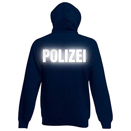 Shirt-Panda Herren Polizei Hoodie · Druck Brust & Rücken Reflex · Polizist Kapuzenpullover · Kapuzenpulli für Polizeibeamte · Wachtmeister Kapuzensweater · Dunkelblau (Druck Reflex) M