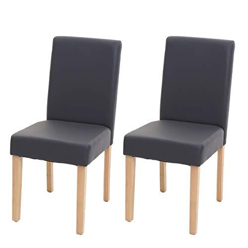 Mendler 2X Esszimmerstuhl Stuhl Küchenstuhl Littau ~ Kunstleder, grau matt, helle Beine