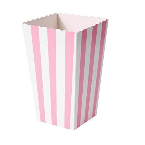 VAINECHAY 12PCS Cajas de palomitas Carton Maíz Caja Papel Pequeña Dulces Papas Fritas Fiesta Cumpleaños para Niños Caja Regalo Comida Bocadillos Titulares Contenedor Onda Dorada Rosa