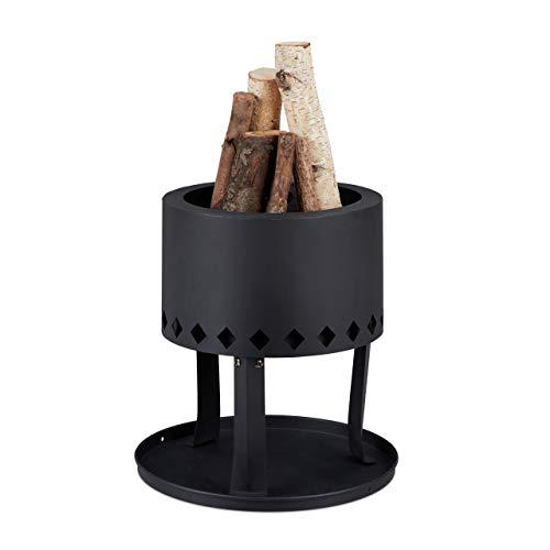 Relaxdays Feuerschale, Ø 30 cm, Bodenplatte, Schürhaken, hoher Rand für Flammenschutz, Garten Feuerkorb, Stahl, schwarz