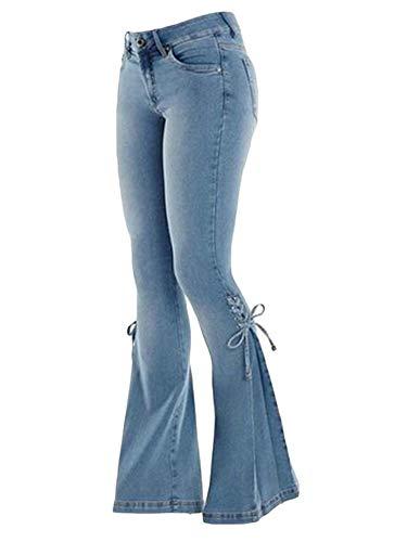 Andongnywell Women's Lace-up Bell Bottom Denim Pants Mid Waist Stretchy Flare Juniors Jeans Trouser (Navy Blue,Medium)