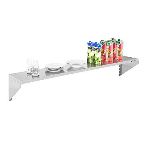 Royal Catering - Wandregal Wandbord (1 Fläche, 150 cm lang, 30 cm tief, Edelstahl + Befestigungsmaterial) Silber