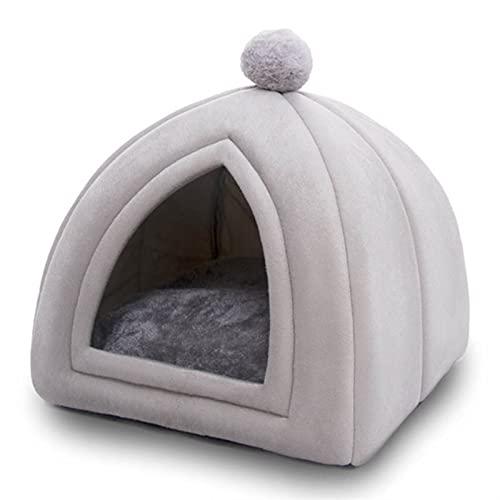AngYou Cat Tent Nest Warm Yur House Cats Cama Cama Plegable Pascua para Perros Mascotas Mascotas deformables, Cama de Perro Sofá Movable Cama de Cachorro (Color : Silver White, Size : M)