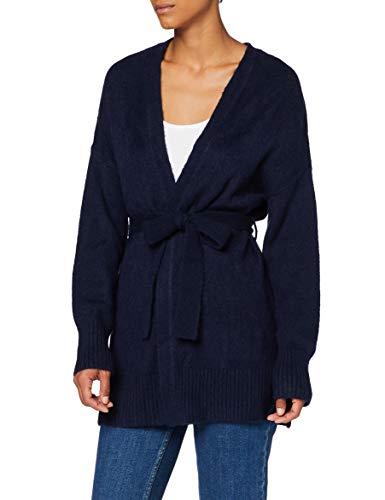 find. Damen Tie Waist Boyfriend Cardigan Strickjacke mit Taillenzug, Blau (Navy), 36, Label: S