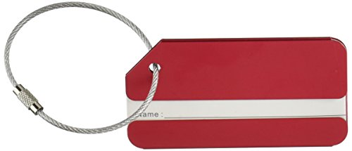 KLOUD City 2 pcs Metal Travel Accessories Square-Shape Luggage tag/Identifier with Name Card (Two Red)