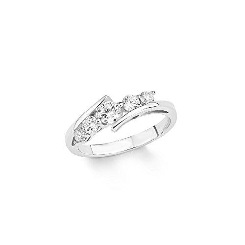 Amor Damen-Ring 925 Sterling Silber rhodiniert Zirkonia weiß 433310