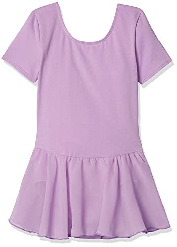 Amazon Essentials Girl's Short-Sleeve Leotard Dress, Powder Lavender, Medium