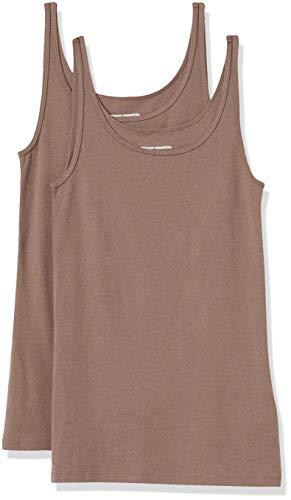 Amazon Essentials Women's 2-Pack Slim-fit Thin Strap Tank, Dark Beige/Dark Beige, Medium