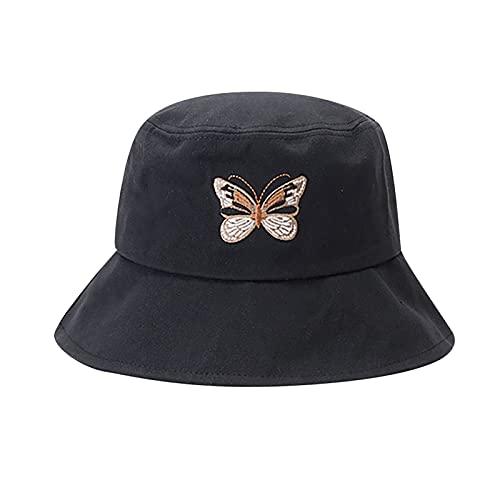 Mcttui del Sombrero del Cubo del Sombrero de Sun P Sombreros Sol para Mujeres Bordado Bordado Sombrero Sombrero Plegable Protección Solar Sombrero Sombrero Casual Casual Plano Top Pescados Sombreros