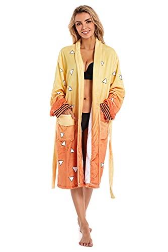Demon Slayer Kochou Shinobu Bathrobe Costume Robe Kimono Pajamas Sleepwear (Agatsuma Zenitsu)